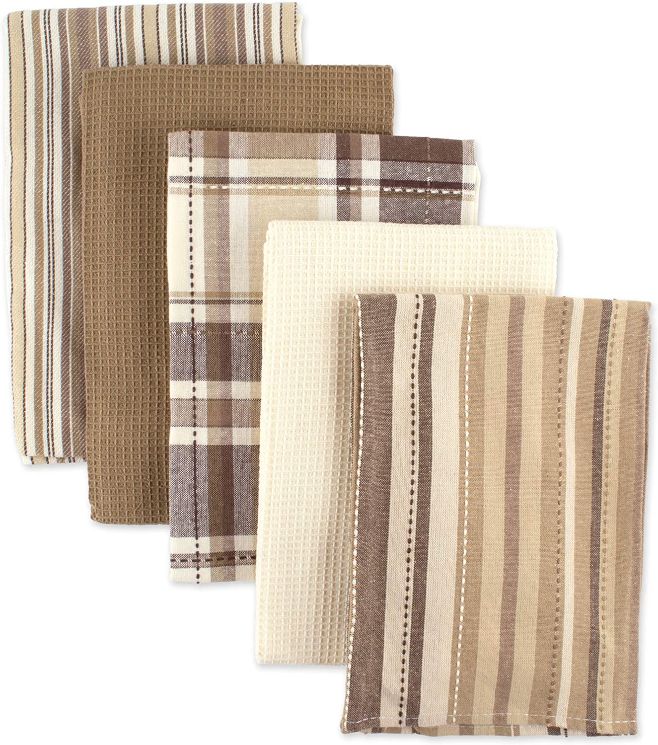 """DII Oversized Kitchen Towels (Taupe, 18x28""""), Ultra Absorbent & Fast Drying, Professional Grade Cotton Tea Towels for Everyday Cooking and Baking - Assorted Patterns, Set of 5"""