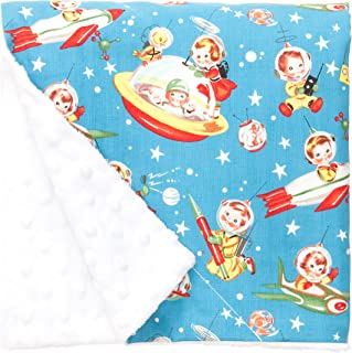 """product image for Original Baby Elephant Ears Boys & Girls Baby Blanket-Soft Minky, for Newborn Infants & Toddlers, Plush Blanket (Retro Rockets, Large 27"""" x 29"""")"""