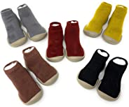 Baby Kids Toddlers Slipper Socks with Soft Rubber Sole Non-Slip Stretch Knit Lightweight House Slippers Trainer Shoes for In