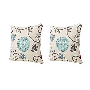 Christopher Knight Home Velvin New Velvet Throw Pillow (Set of 2) (Blue & White Floral)