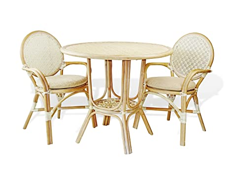 3 Pc Denver Rattan Wicker Dining Set Round Table W 2 Arm Chairs