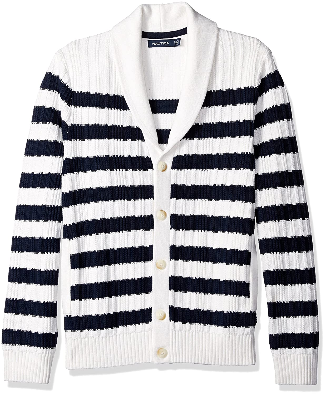 Edwardian Men's Shirts & Sweaters Nautica Mens Breton Stripe Cardigan $128.00 AT vintagedancer.com