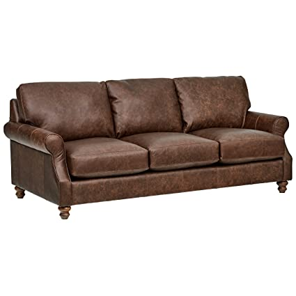 Amazon.com: Stone & Beam Charles Classic Oversized Leather Sofa, 92 ...