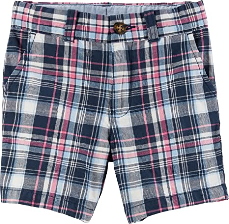 Carters Little Boys Plaid Flat-Front Shorts 5-Toddler