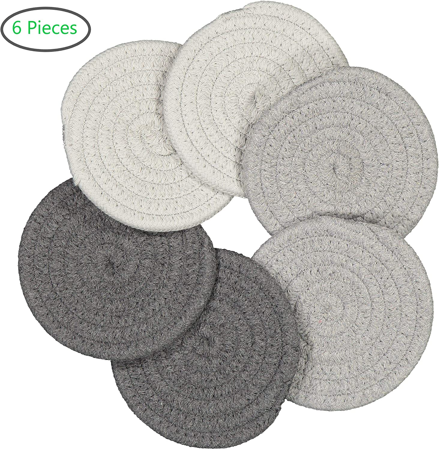LUMOHOME Braided Drink Coasters, Set of 6, Woven, Super Absorbent, Heat-Resistant, Non-Slip, Table Cup Mat for Drinks, Kitchen, Dining, Grey Shades