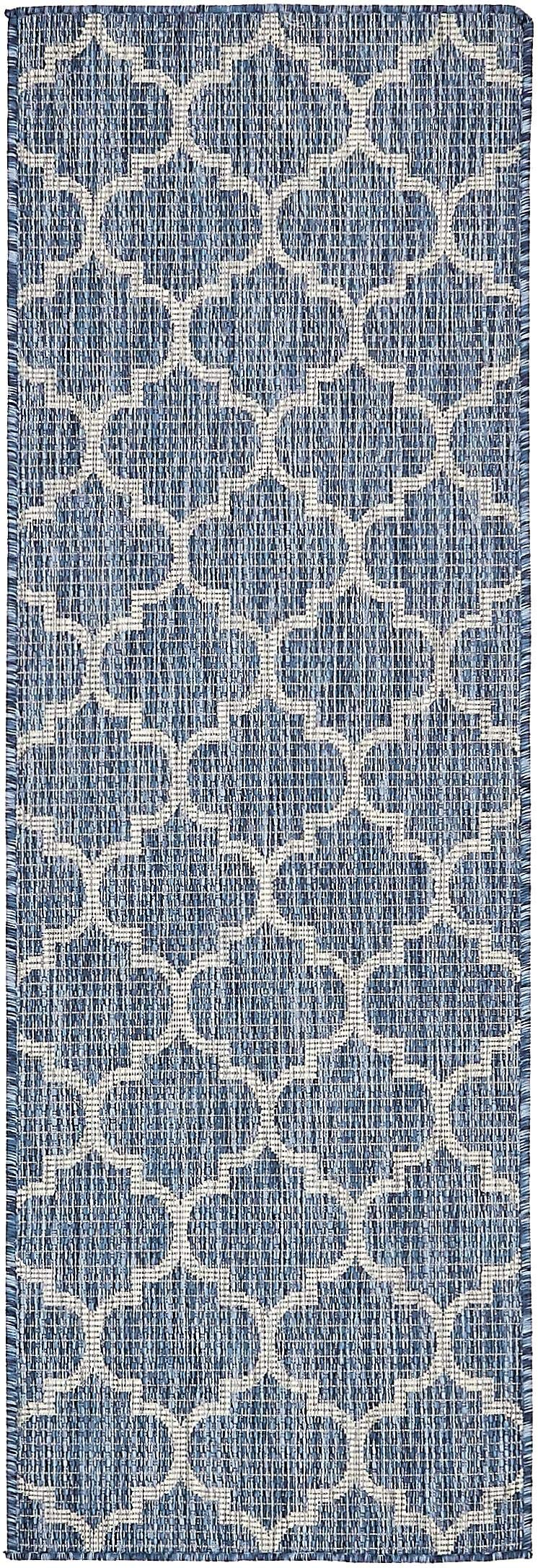 Unique Loom Outdoor Collection Casual Moroccan Lattice Geometric Blue Runner Rug (2' x 6')