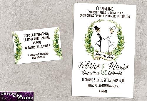Partecipazioni Matrimonio Personalizzate.Partecipazioni Matrimonio Personalizzate Inviti Nozze Greenery