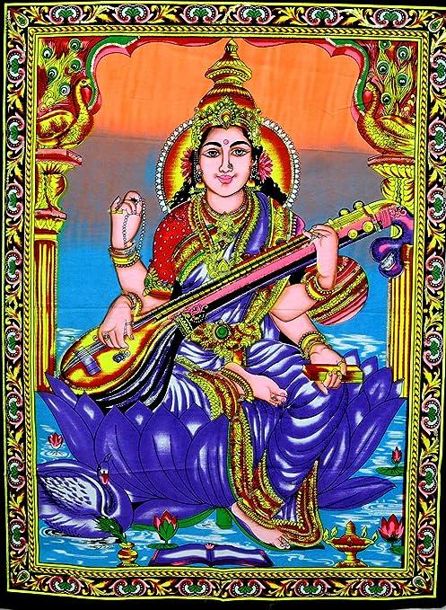 Amazonde Indische Göttin Sarasvati Batik Art Gemälde Motiv Göttin