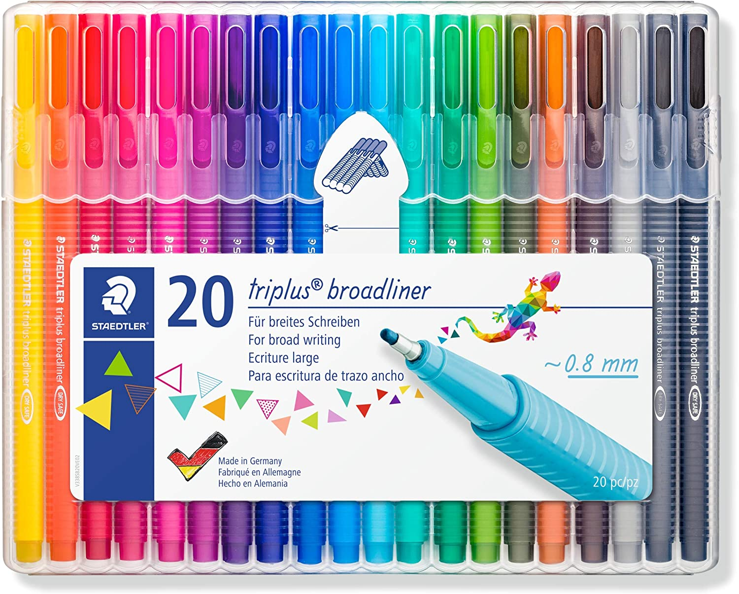 STAEDTLER 338 Triplus Broadliner, Assorted Colours, Pack of 20