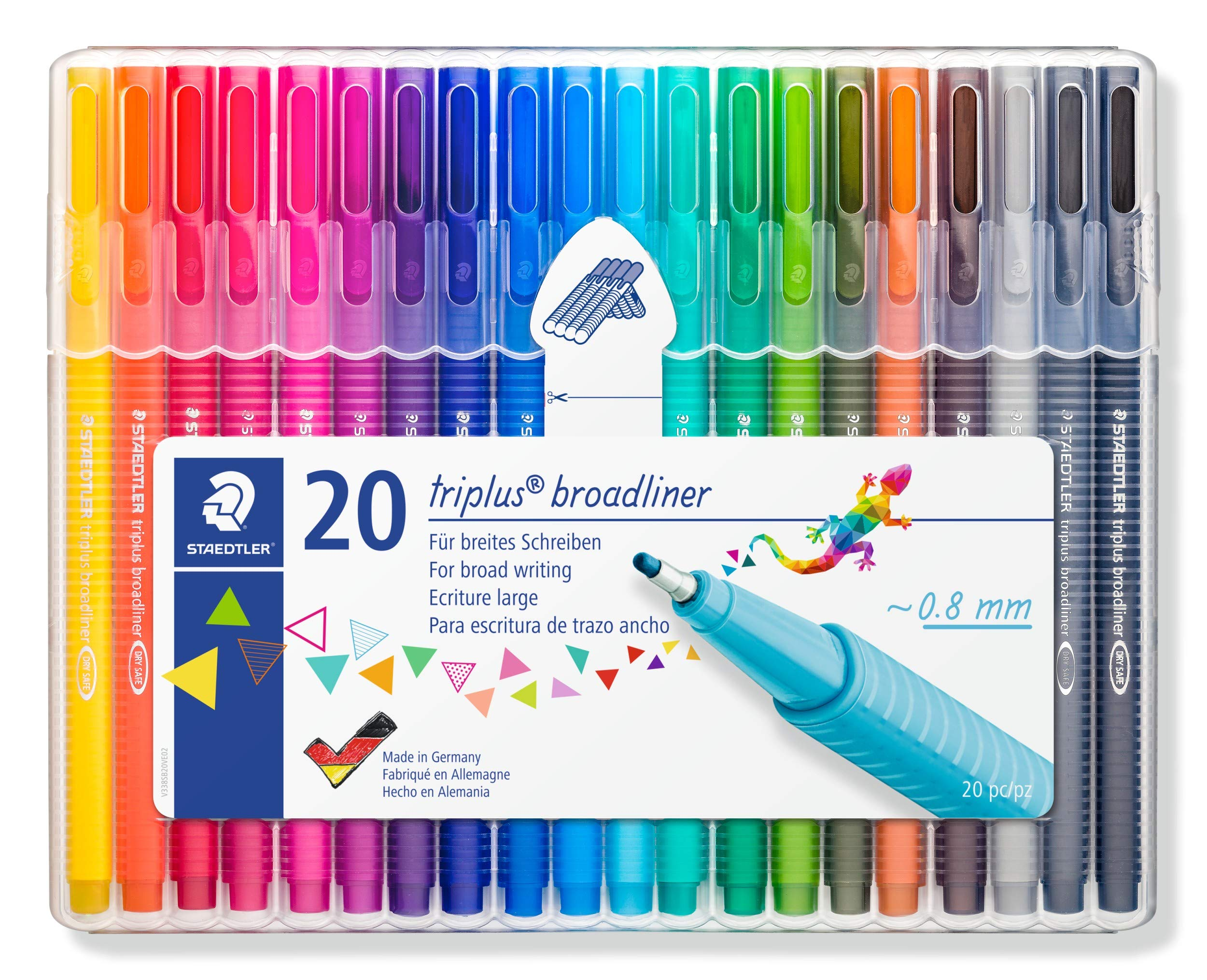 STAEDTLER 338 Triplus Broadliner, Assorted Colours, Pack of 20 by STAEDTLER