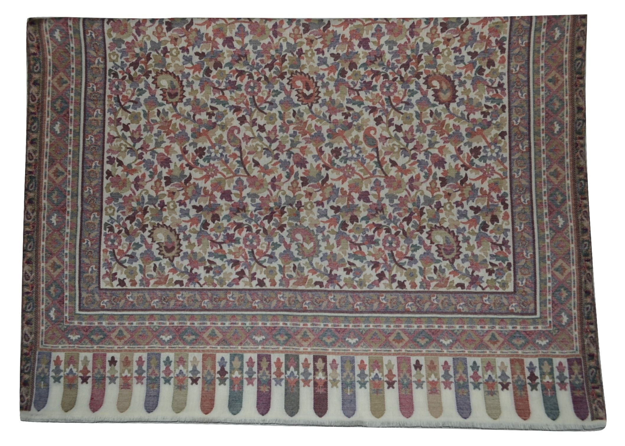 100% Pure AUTHENTIC Handmade Pashmina Wool Scarf,Multicolor Floral KANI work. X1575