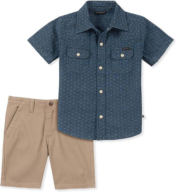 NEW Lucky Brand Boys 2-Piece Shirt /& Shorts Set 2T 4T 5T 7 6 3T