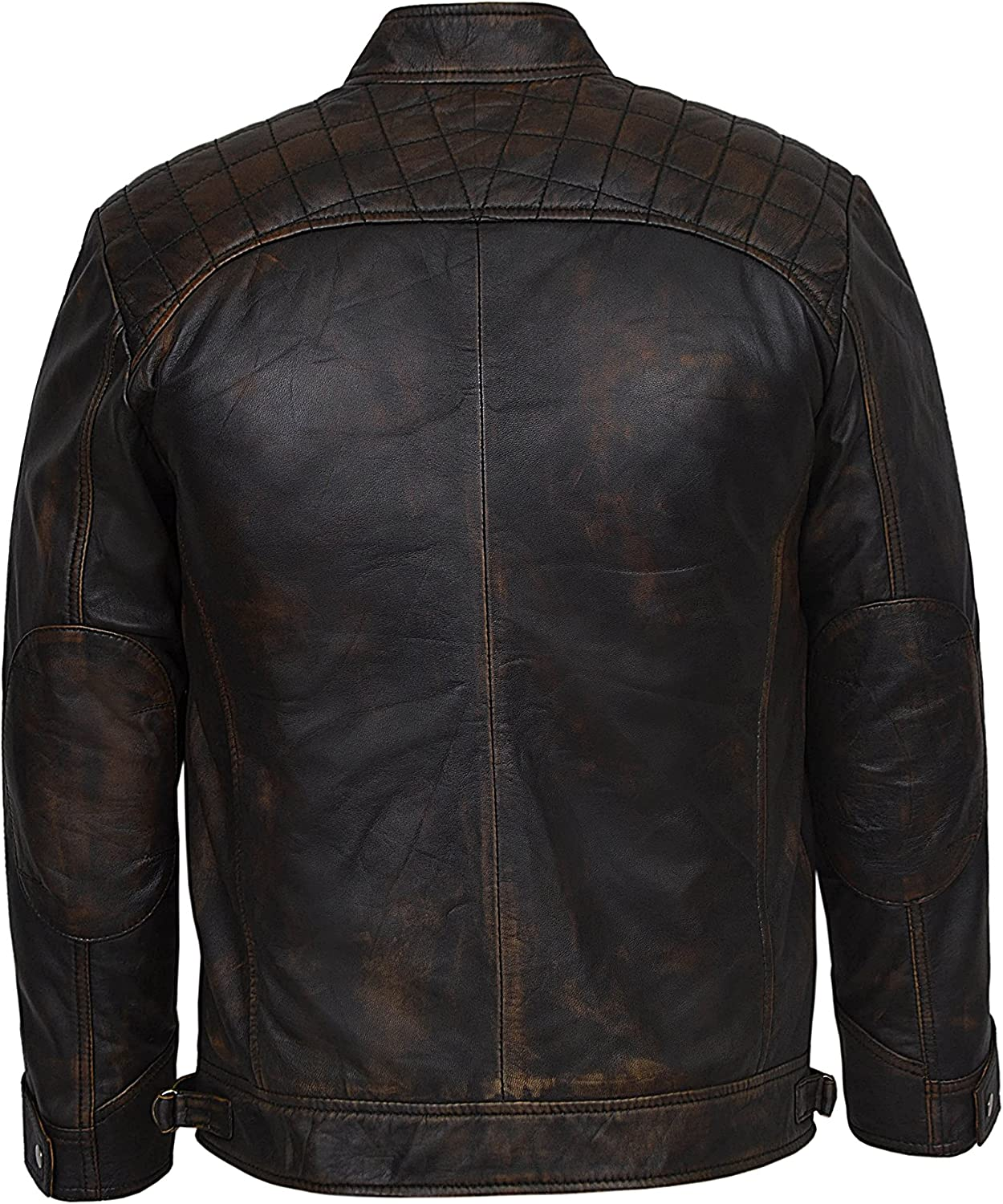 Mens Speed Racing Old Look Black Bronze Vintage Contraband Real 100/% Leather Jacket 1201