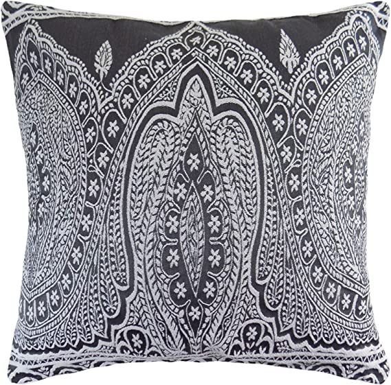 """50CM 2 X PAISLEY WOVEN COTTON BLEND EMBROIDERED THICK GREY CUSHION COVERS 20/"""""""
