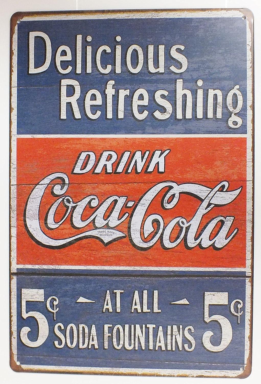 30 x 20 cm 179 Blechschild f/ür Bar Ice Cold Coca Cola Pub Wanddekoration Blechschild Pub