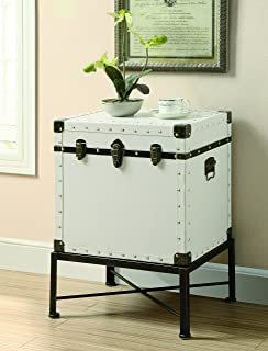 Coaster Traditional White Trendy Trunk Style Accent Side Table