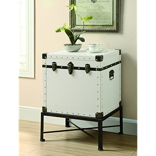 Trunk Style Accent Cabinet White