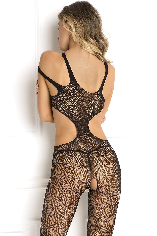 fc4d83db24 Amazon.com  Rene Rofe Women s Sexy Crotchless Babydoll Bodystocking Bodysuit  Lingerie Black  Clothing