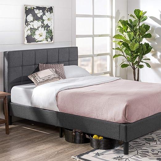 Amazon Com Zinus Lottie Upholstered Platform Grey Bed Frame Model Queen Furniture Decor