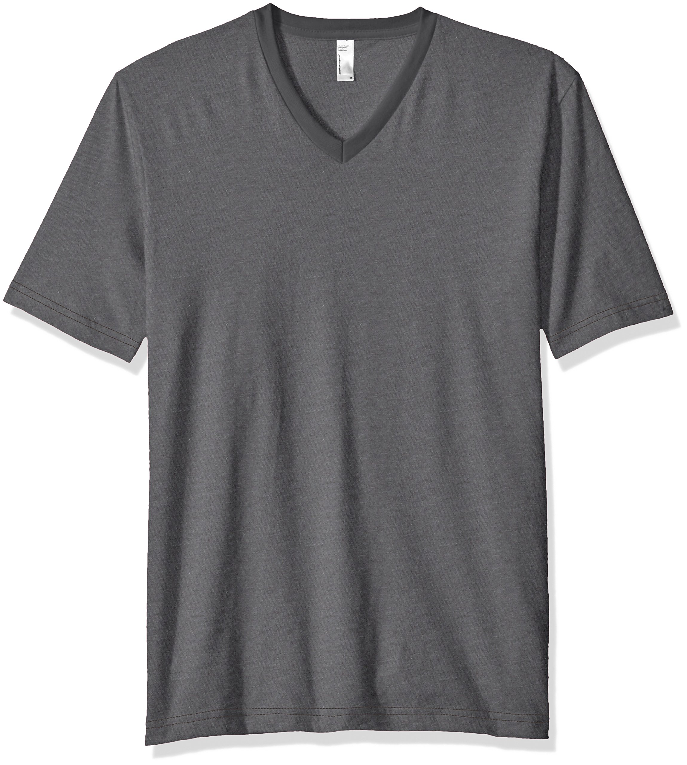 American Apparel Men's Fine Jersey Short Sleeve Classic V-Neck T-Shirt, Asphalt, X-Large