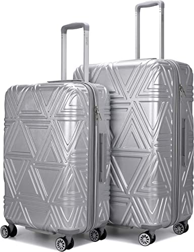 Badgley Mischka Contour Hard Expandable Spinner Luggage Set 2 Piece Silver, 24 28
