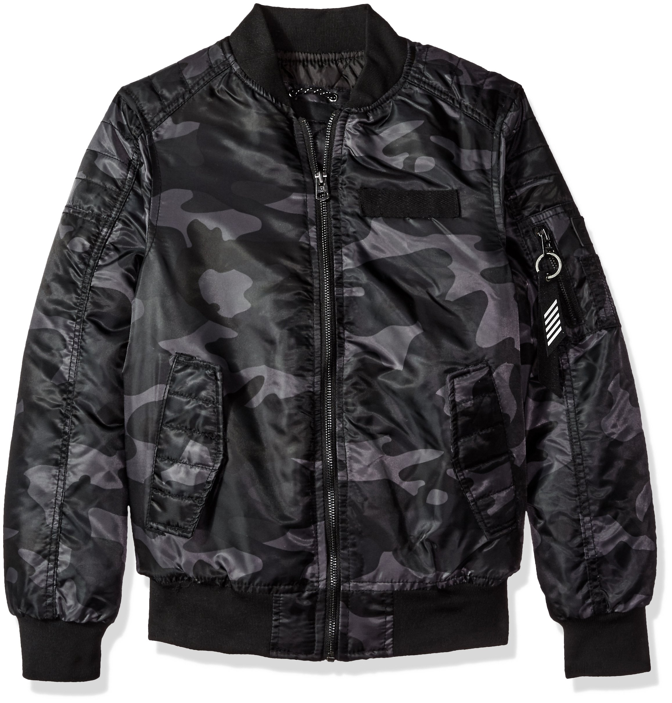 Southpole Big Boys' MA-1 Camo Bomber Flight Jacket With Biker Detail, Greyblack, Medium