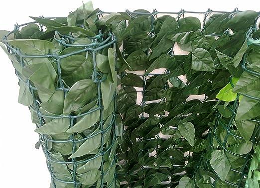 Seto de Laurel de Tipo seto Artificial con una ocultación Fuerte, compuesta de PVC, Color Verde Oscuro 300 x 6 x 100 cm: Amazon.es: Jardín
