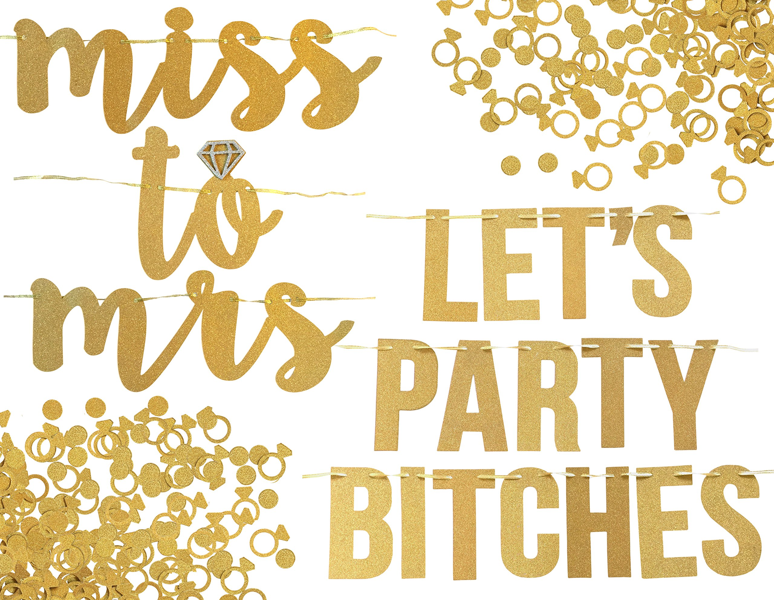 Miss To Mrs Lets Party Bitches Banner Set Bachelorette