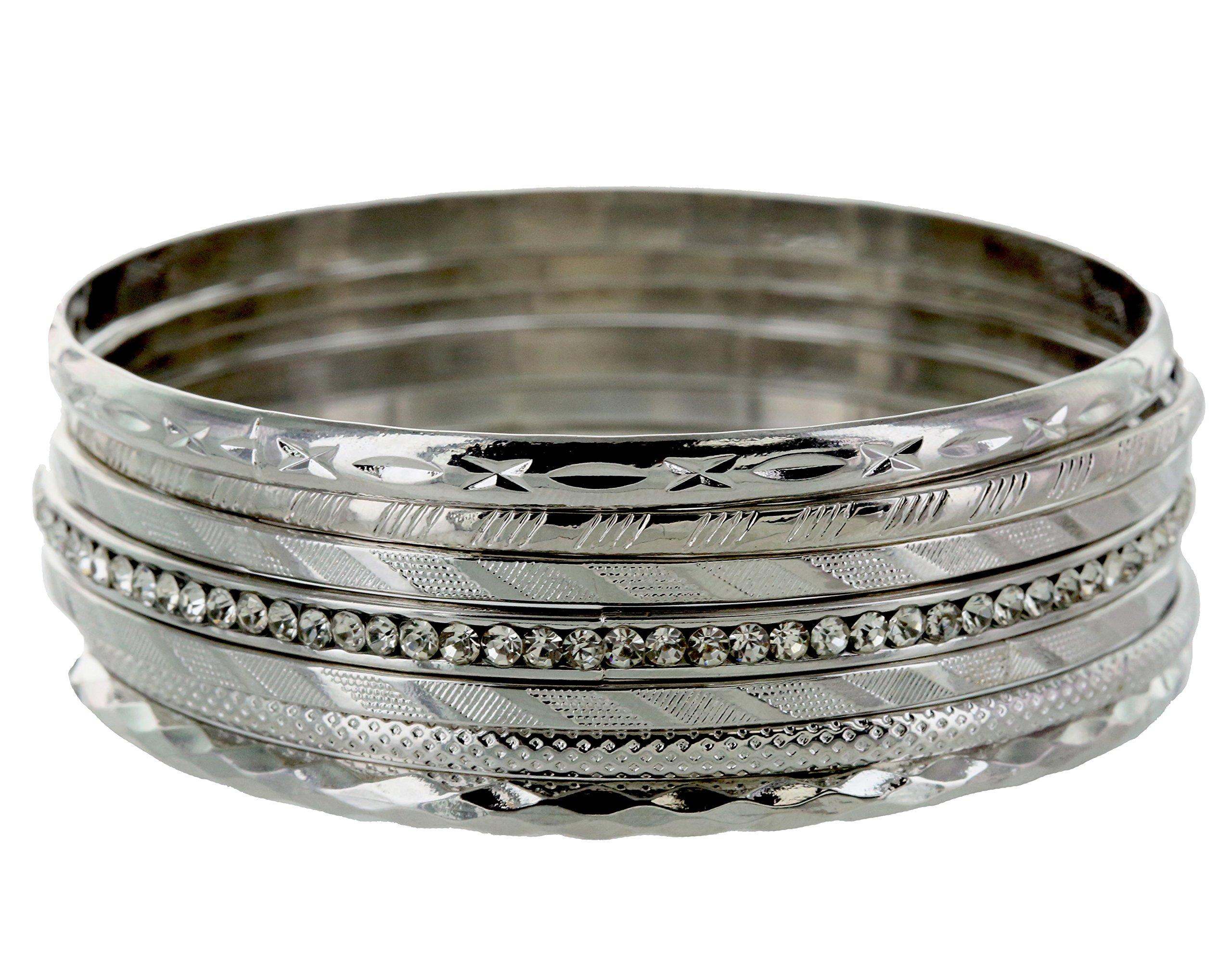and lovely Plus Size Rhodium Plated Multi Textured Rhinestone Studded Plus Size Bangle Bracelet - Set of 7