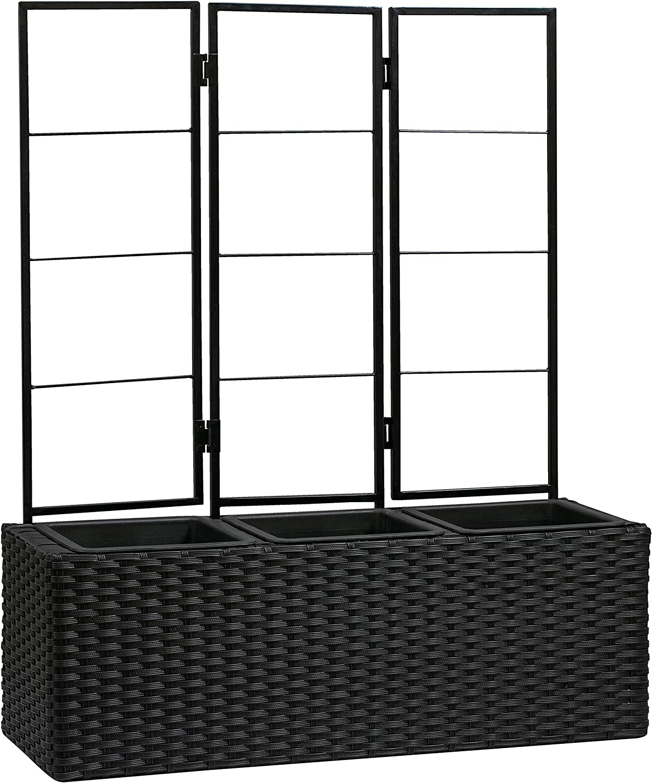 "AmazonBasics Compact Wicker Planter with Trellis - Black, 27.5"" x 9.64"" x 33.07"""