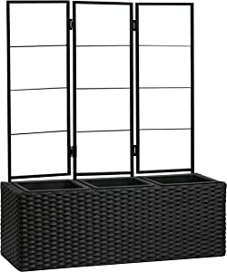 "AmazonBasics Compact Wicker Planter with Trellis - Black, 27.5"" x 9.64"" x 33.07"""