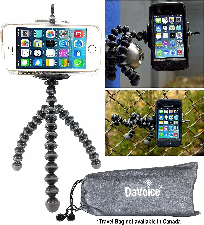 DaVoice Spider Bendy Tripod Compatible with Samsung Galaxy S8 S7 S6 S5 iPhone 7 6s 6 5s SE X Gorilla Pod Flexible Tripod - Cellphone Tripod Adapter - Travel Bag - Mini Selfie Bendable (Gray/Black)