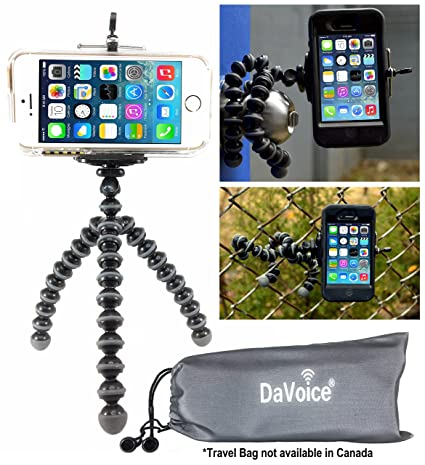 DaVoice Flexible Tripod Compatible with iPhone 7 6s 6 5s 5c 5 4s 4 SE 8 X  XS XR Galaxy S9 S8 S7 S6 S5 , Bendy Tripod , Cellphone Tripod Adapter ,