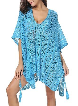49f76c8311119 Invug Women Bathing Suit Cover Up Bikini Swimsuit Swimwear Beach Crochet  Dress Blue S