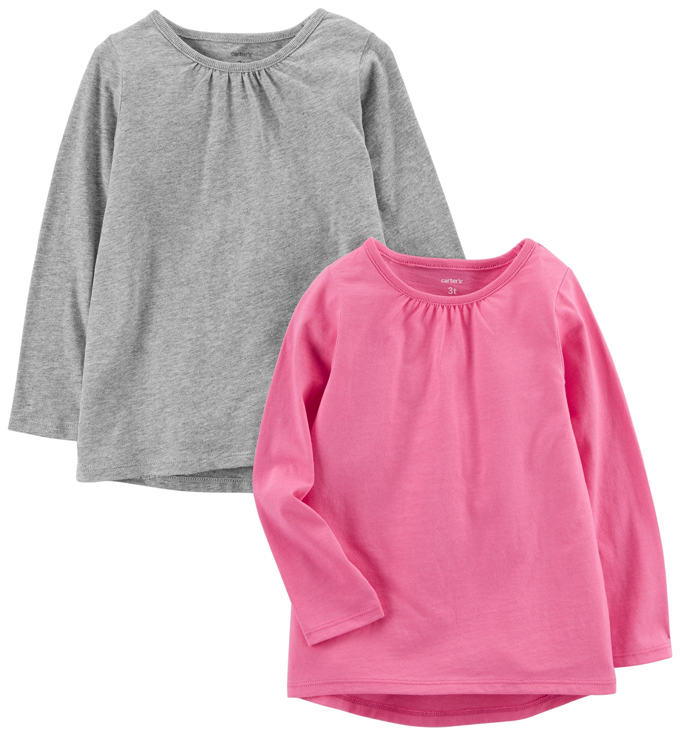 Carter's Girls' Toddler 2-Pack Long-Sleeve Tee, Grey/Bright Pink, 4T