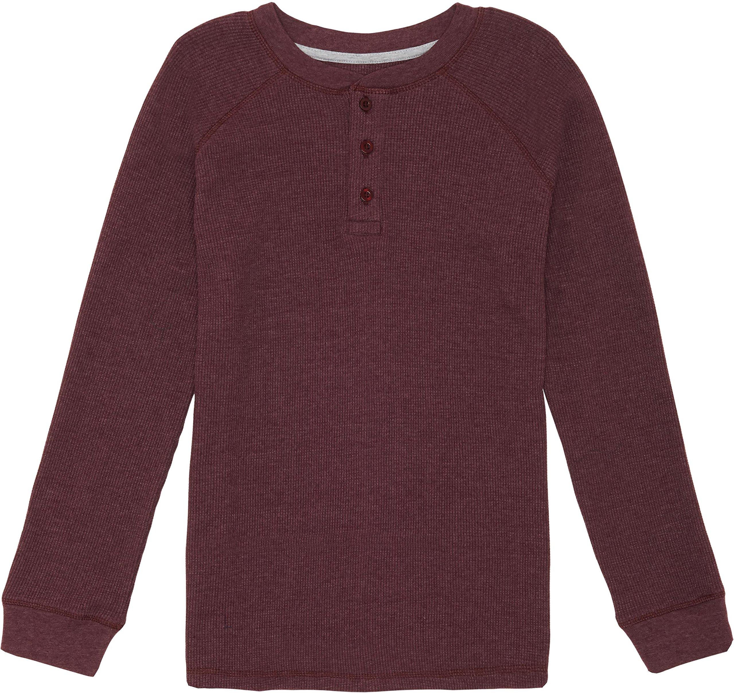 French Toast School Uniform Boys Long Sleeve Thermal Raglan Henley T-Shirt, Berry Bark Heather, 6