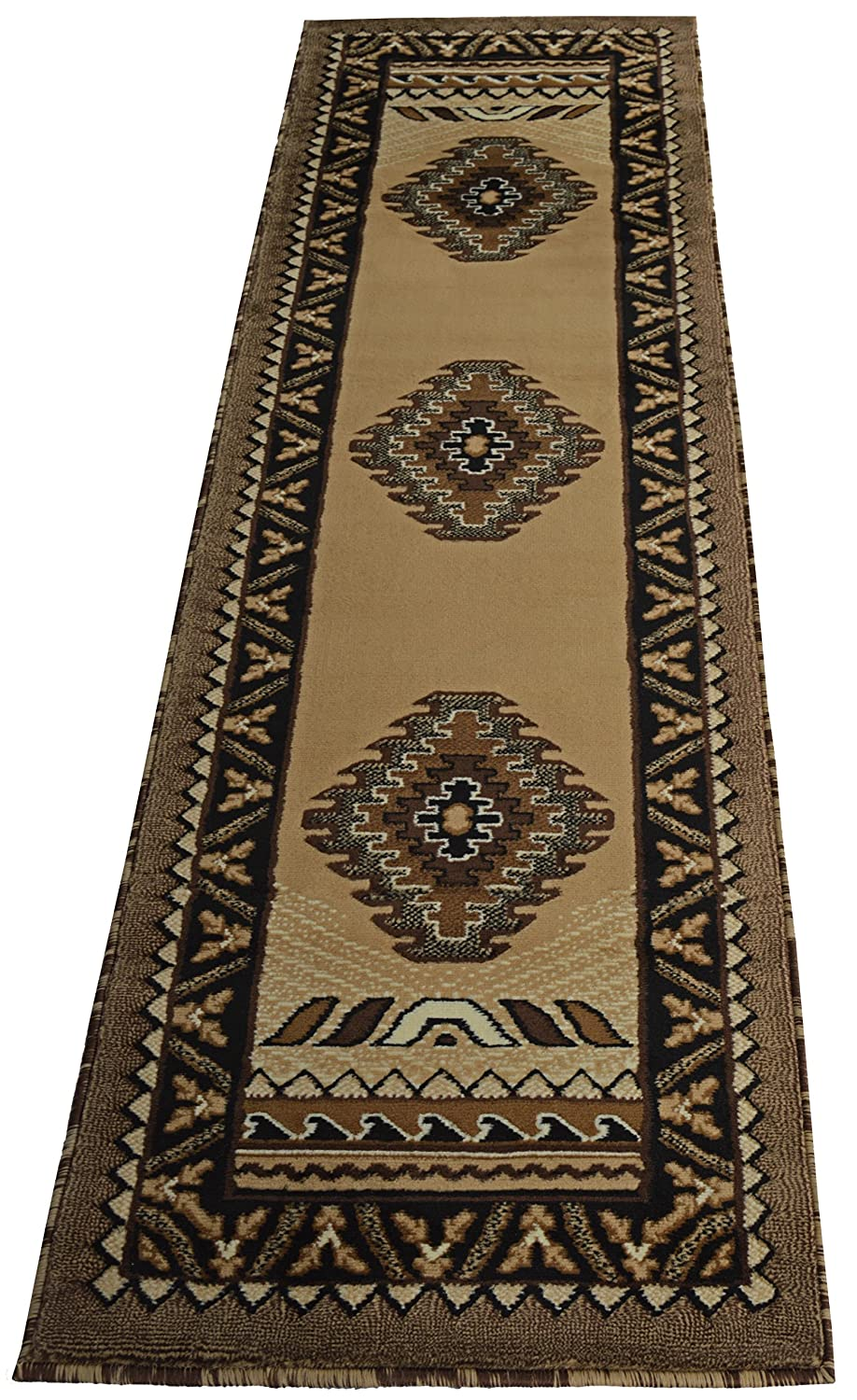 Amazon com rugs 4 less collection southwest native american indian area runner rug design r4l 143 beige berber 2x7 kitchen dining