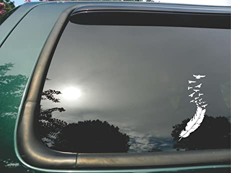 Amazoncom Feather Flying Birds Die Cut White Vinyl Window Decal - Bird window stickers amazon