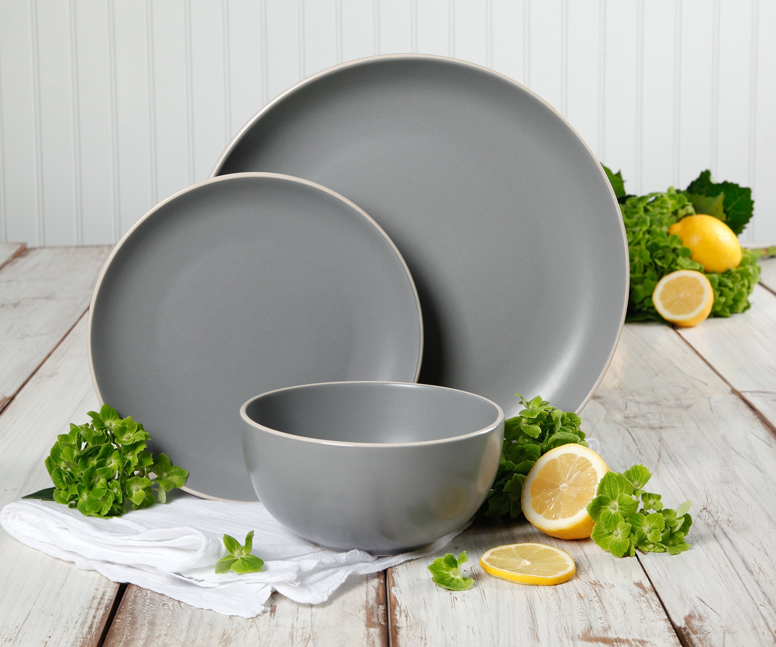 Gibson Home 114388.12RM Rockaway 12-Piece Dinnerware Set Service for 4, Grey Matte by Gibson Home (Image #5)