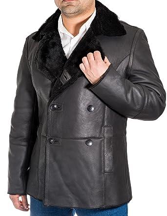 Abrigos de piel de oveja hombres marinos alemanes (long pea coat)