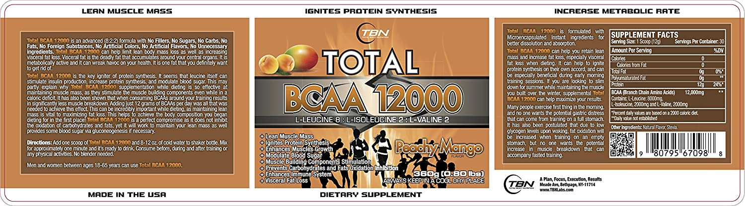 TBN Labs 8 2 2 Ratio Enriched Total BCAA 12000 is one of the most Bioactive BCAA Voted By NPC Bodybuilders. L-Leucine 8 L-Isoleucine 2 L-Valine 2 Best Use For EACH BOTTLE OF Total BCAA 12000 PERFORMANCE FUEL CONTAINS THREE HUNDRED SIXTY 360 GRAMS OF HIGH QUALITY BRANCH CHAIN AMINO ACIDS TO FEED YOUR MUSCLES. .. Peachy Mango