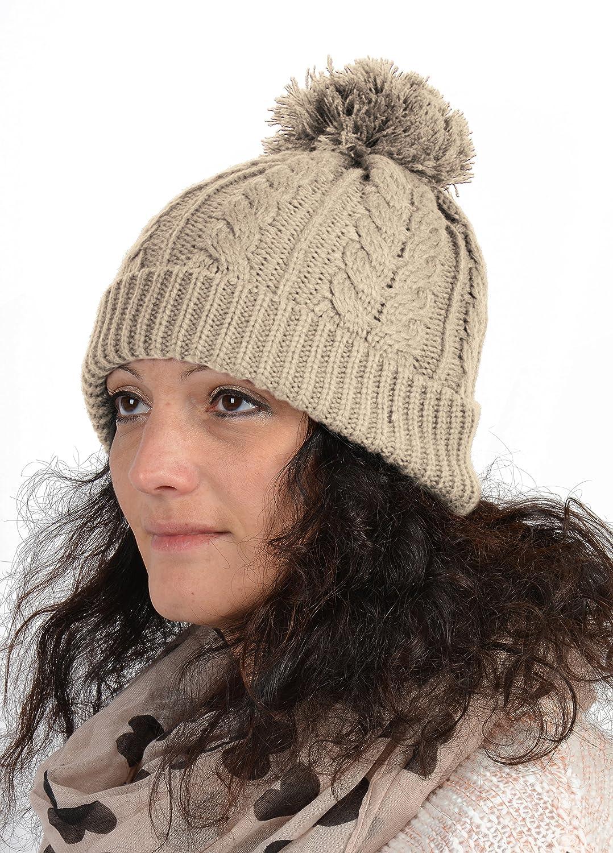 Beanie mit Zopfmuster - Damen Strickmütze - Mütze für Frauen in verschiedenen Farben - Wintermütze Skimütze
