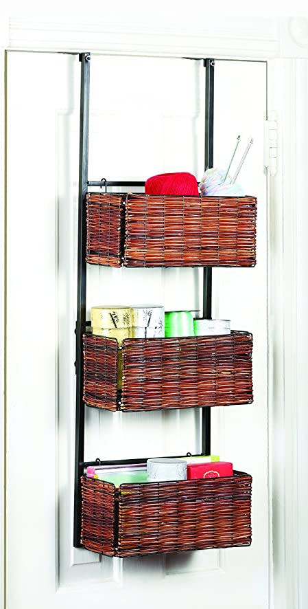 Over the Door Basket Storage Set Woven Wood Black Metal with Removable Woven Wood Baskets Hangs & Amazon.com: Over the Door Basket Storage Set Woven Wood Black Metal ...