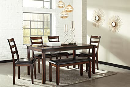 Coviar Dark Brown Sturdy Wooden Frame And Top Dining Table 4 Durable Wood