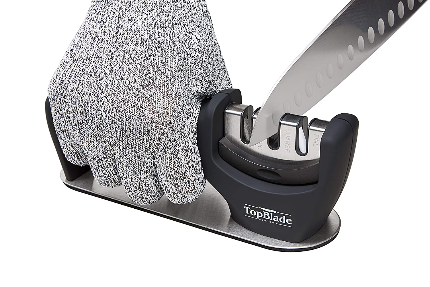 TopBlade 2019 – Upgraded 3-stage Kitchen Knife Sharpener to Restore, Sharpen and Polish Steel & Ceramic Blades – Improved Safety & Stability - Cut Resistant Glove Included