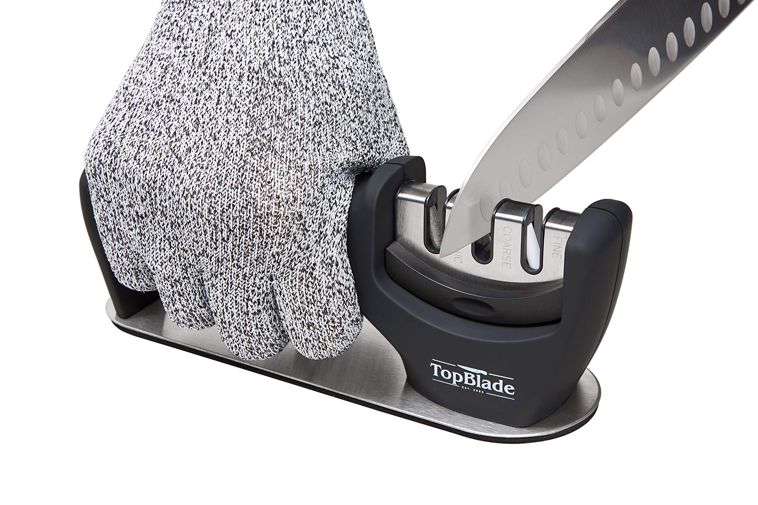 TopBlade 2019 - Upgraded 3-stage Kitchen Knife Sharpener to Restore, Sharpen and Polish Steel & Ceramic Blades - Improved Safety & Stability - Cut Resistant Glove Included by TopBlade