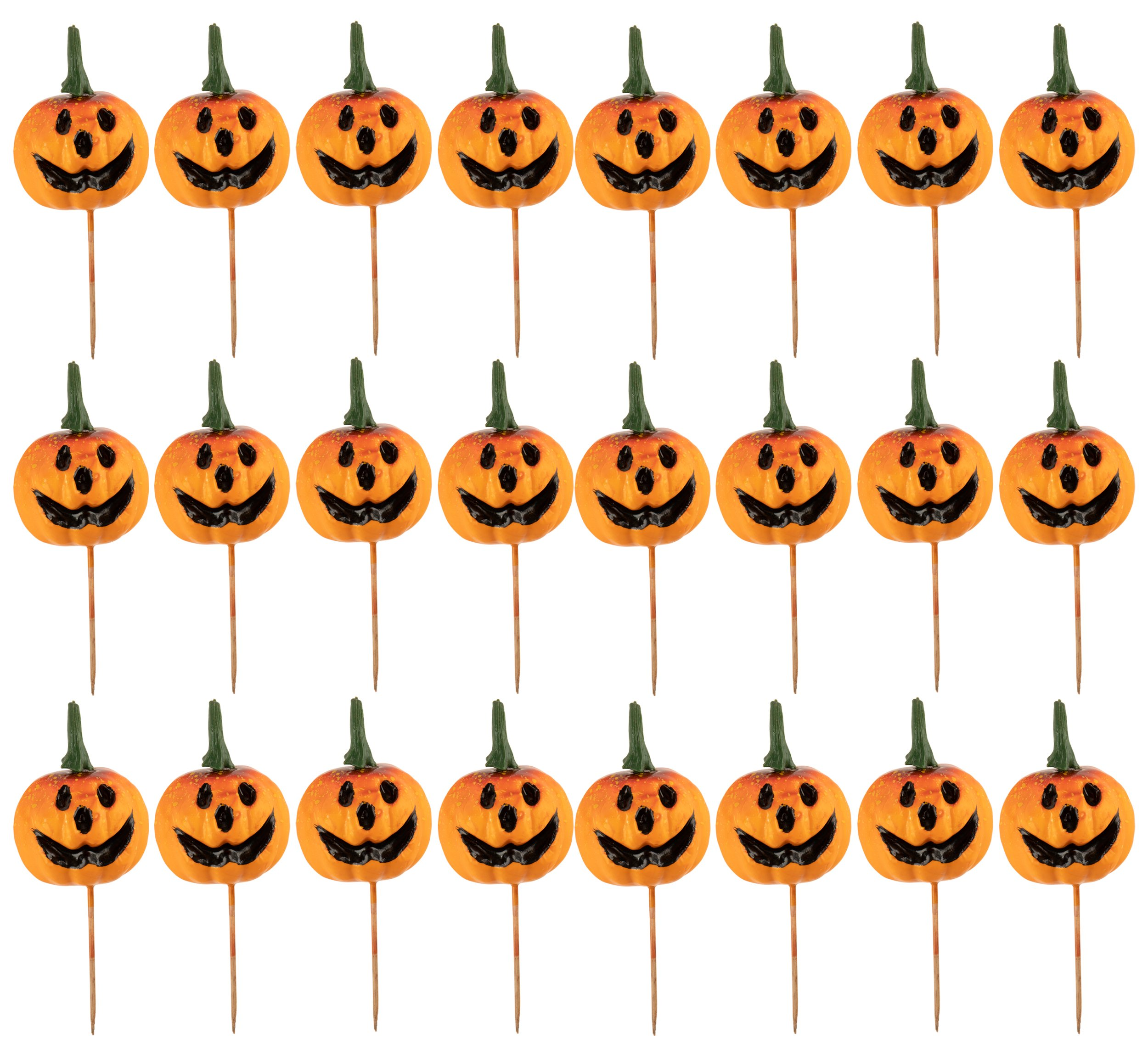 Cupcake Toppers - 24-Piece Halloween Themed Cocktail Picks Party Favors, Cake Decoration Supplies, Sandwich Holders, Jack-O-Lantern Pumpkin Toothpicks, Orange, 6.375 Inches Tall