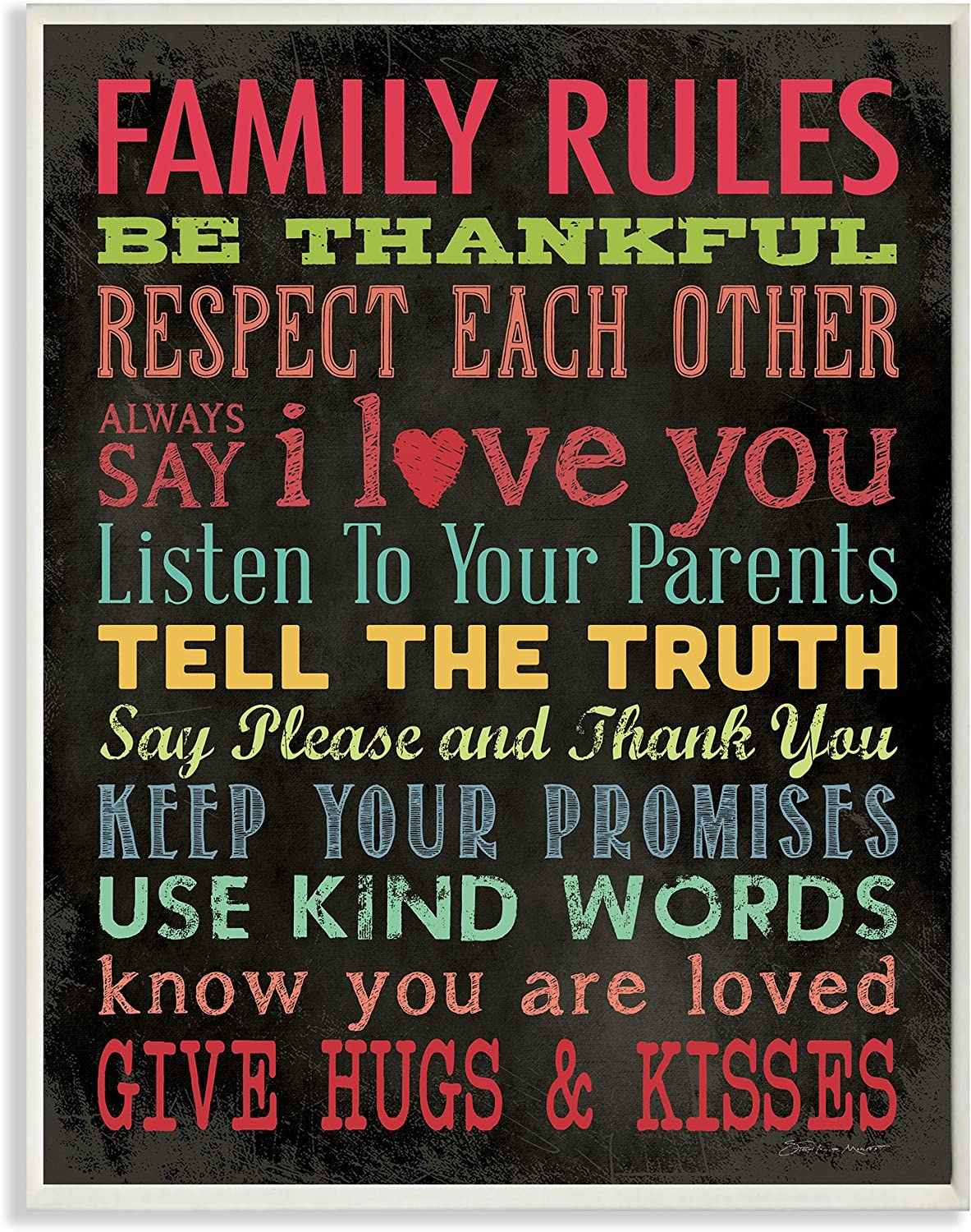 Stupell Industries Family Rules Chalkboard Style Oversized Wall Plaque Art, 12.5 x 0.5 x 18.5, Multi-Color