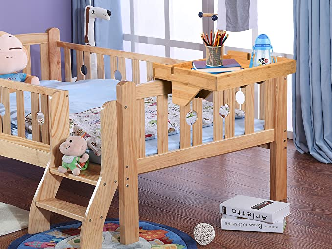 Bedside Shelf Natural Bamboo Removable Bedside Tray Kids Floating