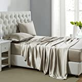OOSilk 4 Pieces 100% Mulberry Charmeuse Silk Bed Sheet Set Seamless Deep Pocket (King Size, Taupe Color)